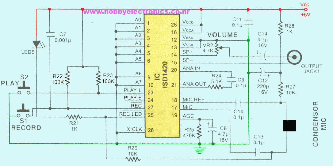 single chip voice recording \u0026 play back circuitVoice Recorder Circuit Sound Recorder Circuit #11